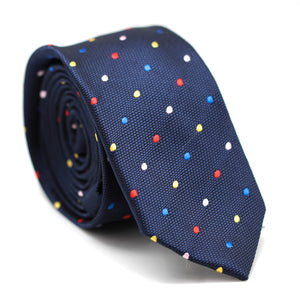 Skinny Tie Dark Blue with Colourful Polkadot