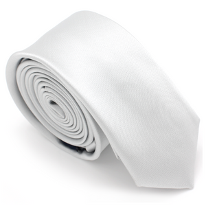 SKINNY SILK COLOR TIE SILVER