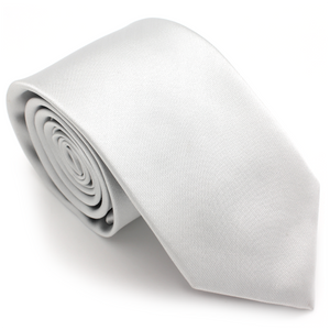 REGULAR SILK COLOR TIE SILVER