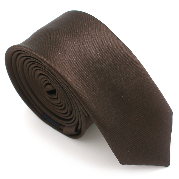 SKINNY SILK COLOR TIE BROWN