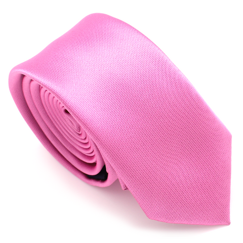 SKINNY SILK COLOR TIE PINK