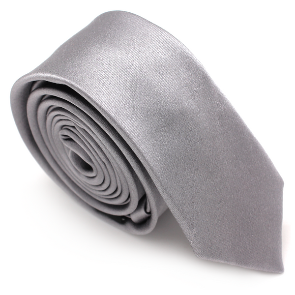 SKINNY SILK COLOR TIE SILVER DARK