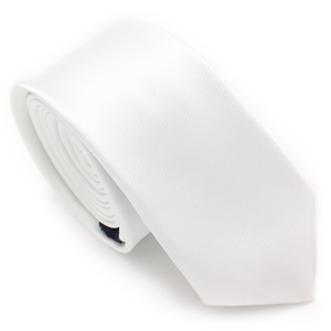 SKINNY SILK COLOR TIE WHITE