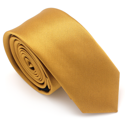 SKINNY SILK COLOR TIE GOLD