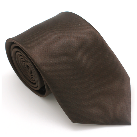 REGULAR SILK COLOR TIE BROWN