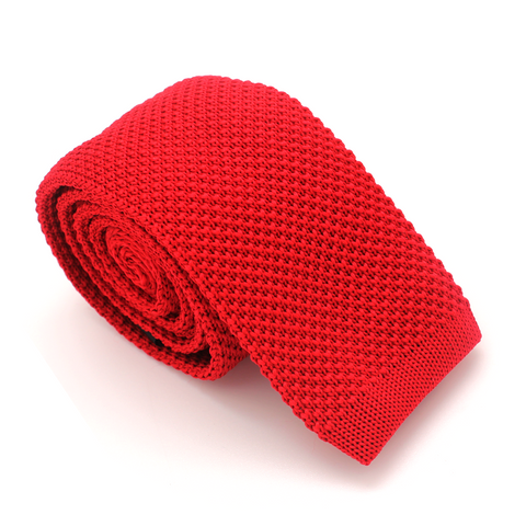 KNIT SKINNY TIE RED