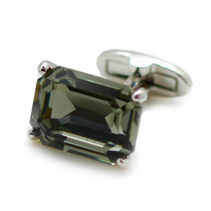 Swarovski Rectangle Cut Jet Cufflinks