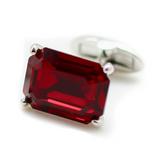 Swarovski Rectangle Cut Ruby Cufflinks