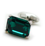 Swarovski Rectangle Cut Emerald Cufflinks