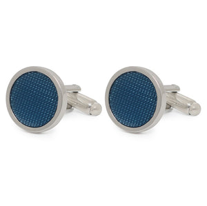 BLUE DOT ROUND CUFFLINKS