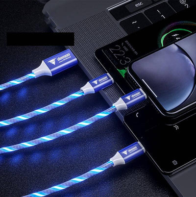 Demon-Devices 2 Packs 3 in 1 Charging and Data 4ft Cable Flowing Led Light Up USB Cable Fast Charging Cord Type C/Micro USB/IP Connector for all Phones - DemonDevices