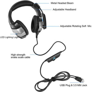 K5 Wired Earphone Over ear Game Gaming Headphone Headset Headband with Mic Stereo for Computer - DemonDevices