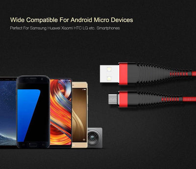 Micro USB Cable Demon-Devices Braided Nylon Cell Phone Charger - Fast Charging & Sync - DemonDevices