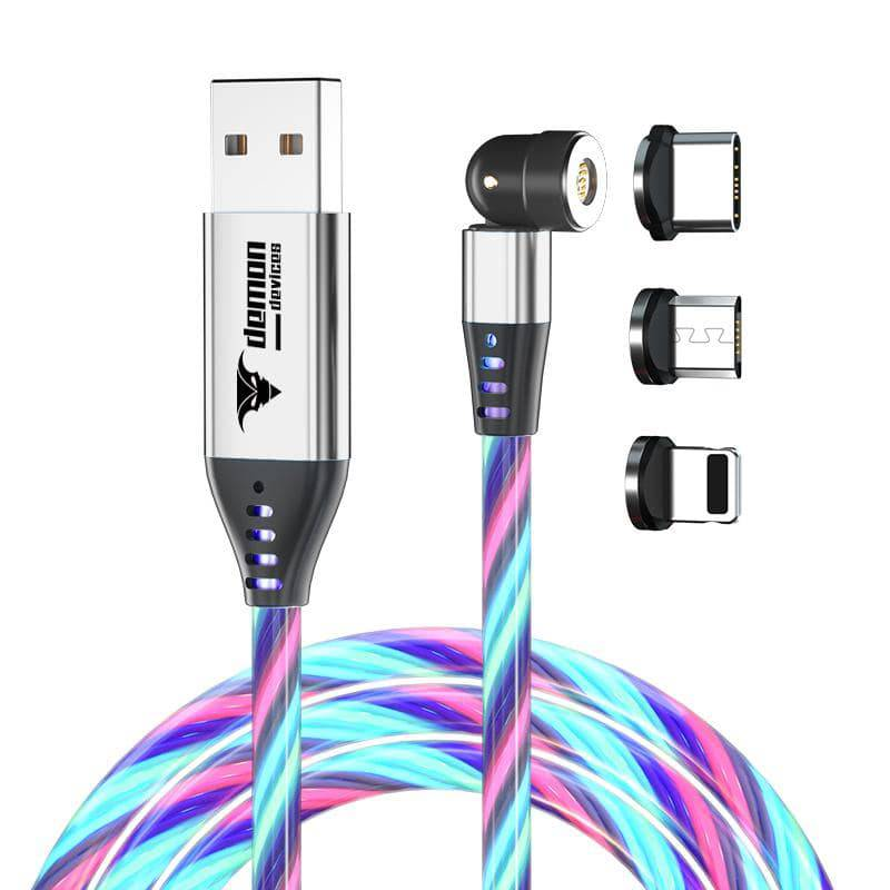 LED Flowing 540 rotation Magnetic 3 in 1 USB fast Charging and Data! Cable. 1 Pack 3 Tips 6.6ft, Micro USB, Type-C, I-product - DemonDevices