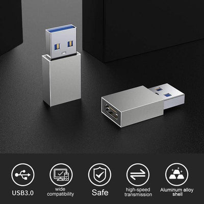 USB C Female to USB 3.0 Male Adapter(2-Pack), Type C to USB A Adapter - DemonDevices