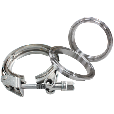 "Aeroflow - 3-1/2"" (88.9mm) V-Band Clamp Kit with Stainless Steel Weld Flanges"