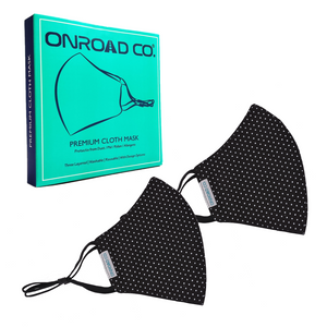 Reusable and Washable 3 Layered Anti Pollution Cloth Mask (Pack of Two) - Black with White Dots
