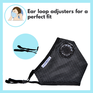 Reusable Anti-Pollution Mask (Black with White Dots)