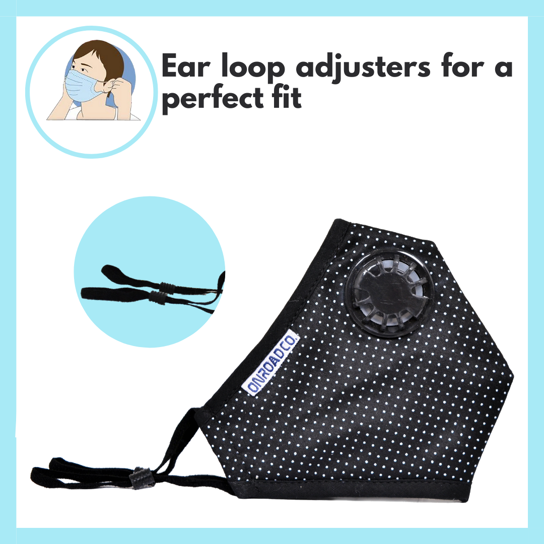 Reusable Anti-Pollution Mask (Pack of two- Black with White Dots)