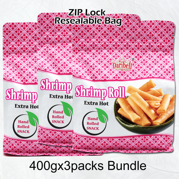 400g x 3packs Bundles Daribell Spicy Shrimp Roll Ziplock Bag - Extra Hot