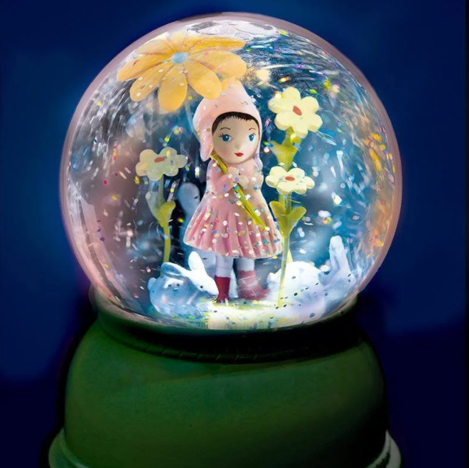 Sweet Girl Snow Globe Night Light