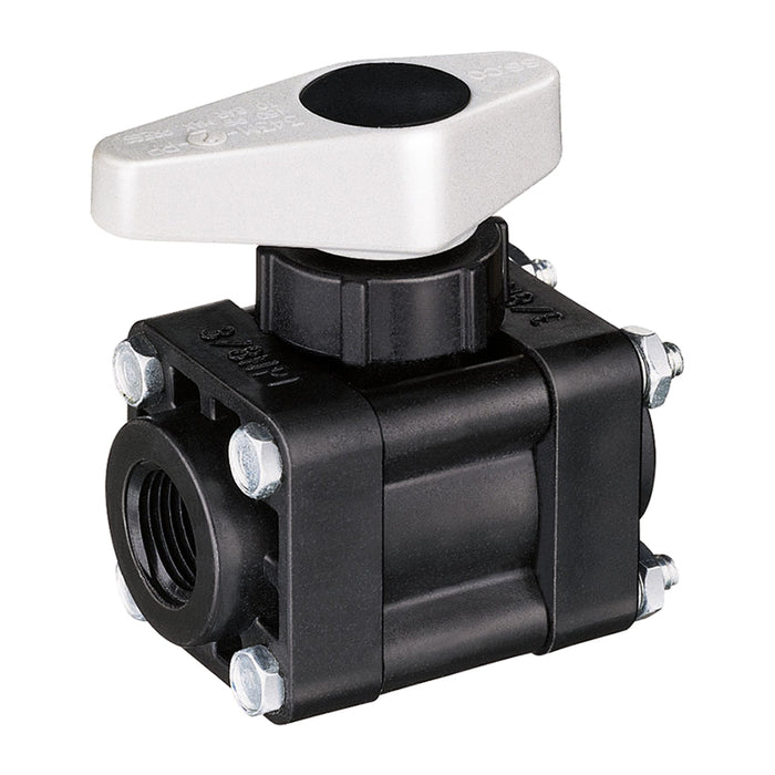 2-WAY POLY BALL VALVE, 1/2  10 BAR