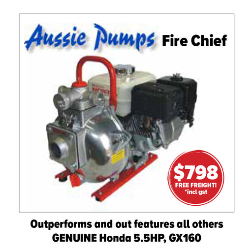 AUSSIE PUMPS. FIRE CHIEF WITH SKID AND HANDLE. 72M HEAD, 450L/MIN.