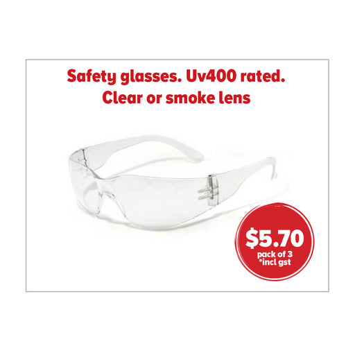 SAFETY GLASSES. CLEAR OR SMOKE POLYCARBONATE LENS WITH ANTI SCRATCH FINISH