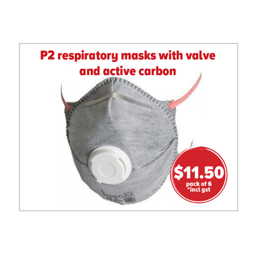 P2 respiratory masks with valve and active carbon