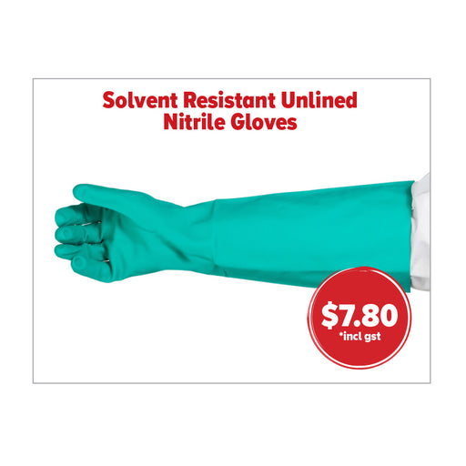 SOLVENT RESITANT NITRILE GLOVES. 460MM. LATEX . HACCP CERTIFIED