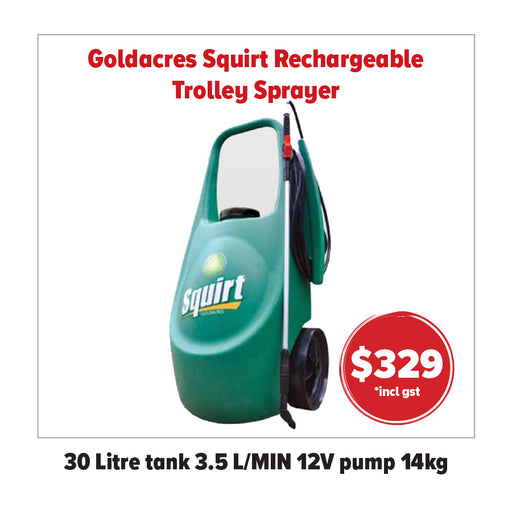 GOLDACRES SQUIRT. 30 LITRE RECHARGEALE TROLLEY SPRAYER. AUSTRALIAN MADE