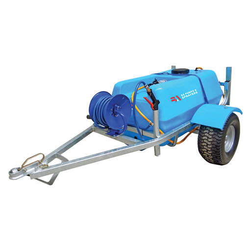 EZI SPOT 200 LITRE TRAILER, 12V, 11.3L/MIN. 45PSI SHURFLO PUMP, 15M EZI REEL, M30 SPRAY LANCE WITH BRASS ADJ NOZZLE. HEAVY DUTY CHASIS AND MUDGUARDS, 50mm TOW HITCH