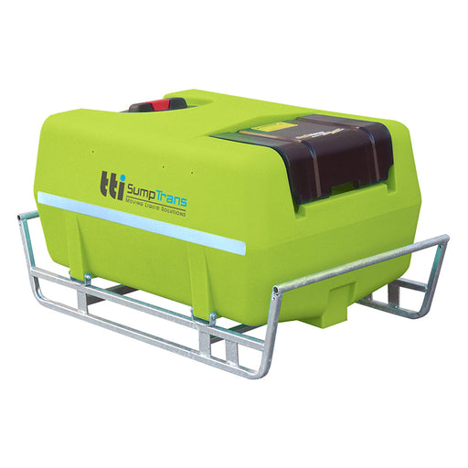 200 litre SUMPTRANS pin mount spray tank with steel frame, incl. pump cover - Safety Green. DIMENSIONS-  L:1100mm, W:700mm, H:565mm.  WEIGHT: 19kg