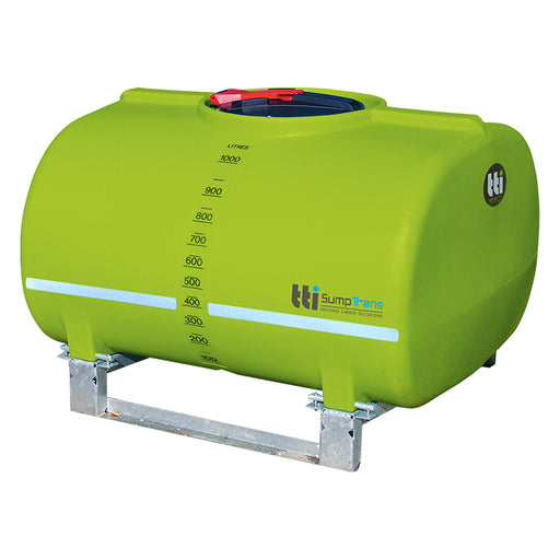 1000 litre SUMPTRANS pin mount spray tank with steel frame - Safety Green. DIMENSIONS-  L:1430mm, W:1220mm, H:980mm.  WEIGHT: 76kg