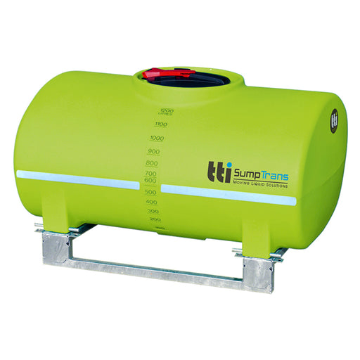 1200 litre SUMPTRANS pin mount spray tank with steel frame - Safety Green. DIMENSIONS-  L:1700mm, W:1200mm, H:990mm.  WEIGHT: 85kg