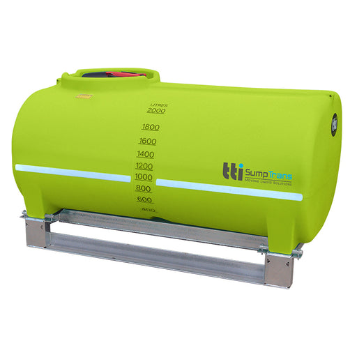 2000 litre SUMPTRANS pin mount spray tank with steel frame - Safety Green. DIMENSIONS-  L:2150mm, W:1410mm, H:1180mm.  WEIGHT: 149kg