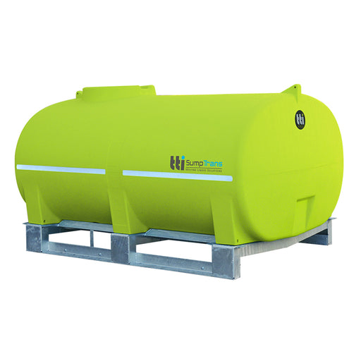 5000 litre SUMPTRANS pin mount spray tank - bare - Safety Green. DIMENSIONS-  L:2760mm, W:2000mm, H:1520mm.  WEIGHT: 245kg