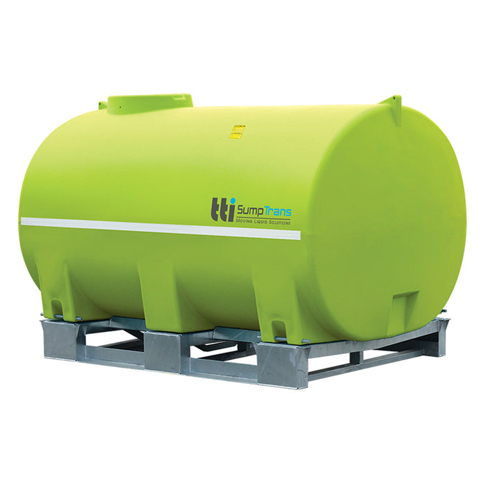 10000 litre SUMPTRANS pin mount spray tank with steel frame - Safety Green. DIMENSIONS-  L:3480mm, W:2250mm, H:2100mm.  WEIGHT: 750kg