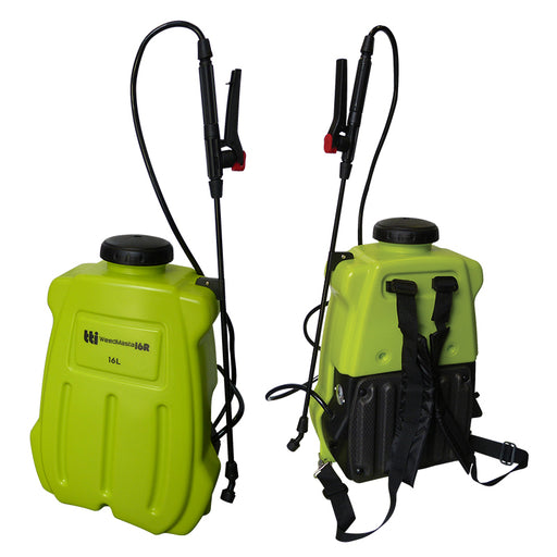 16 litre WEEDMASTA backpack sprayer with 12 volt 2.4 L/min 70 psi pump, AHL006 spray lance.