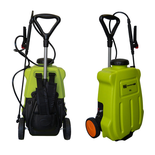16 litre WEEDMASTA backpack sprayer with 12 volt 2.4 L/min 70 psi pump, AHL006 spray lance & trolley.
