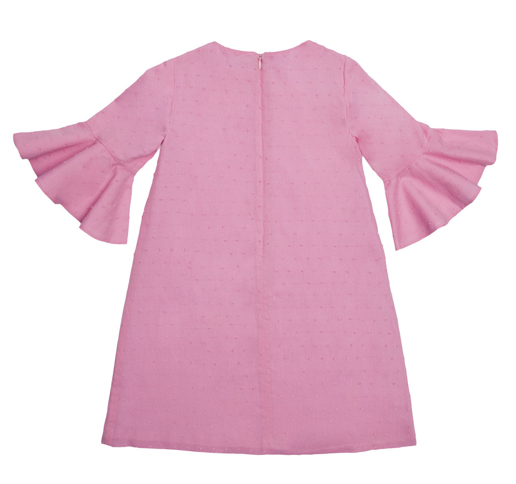 Flounce Sleeve Dress in Candy Pink
