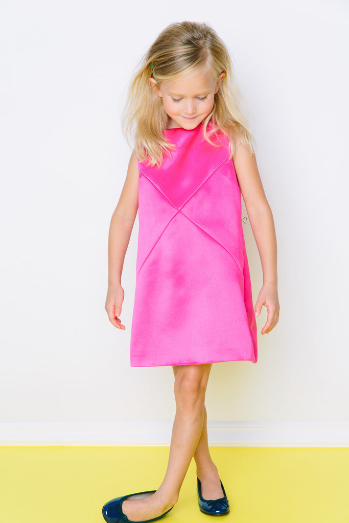 Cross Diagonals Shift dress in Fuchsia