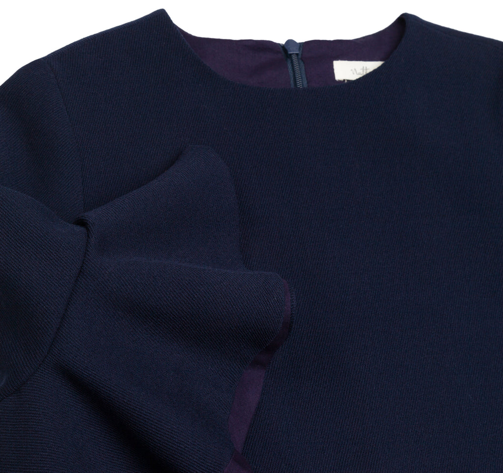 Flounce Sleeve Dress in Navy Wool
