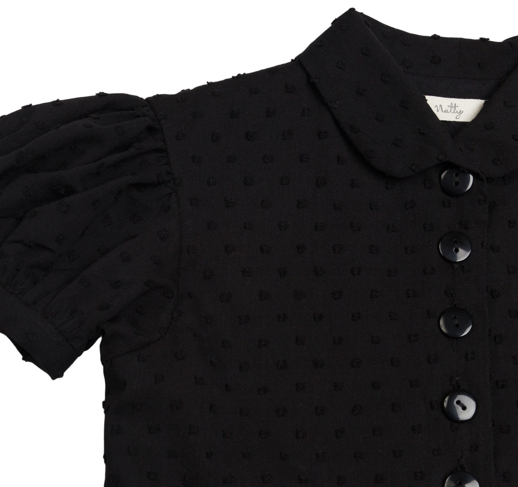 Black Swiss Dot Party Dress