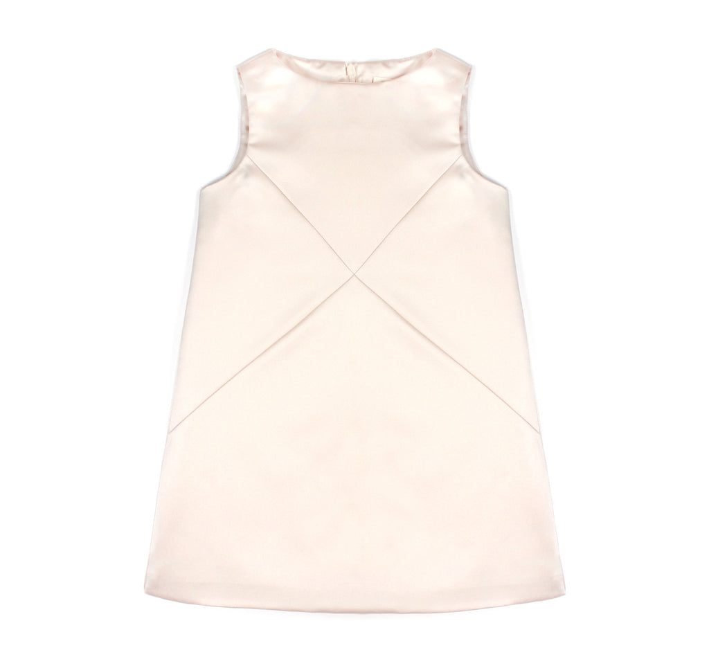 Cross Diagonals Shift Dress in Champagne