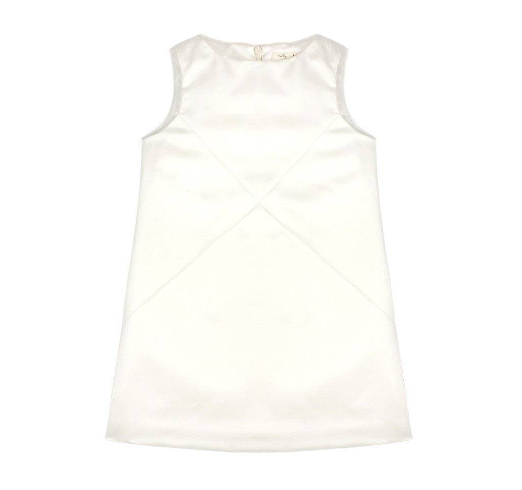 Cross Diagonals Shift Dress in Ivory
