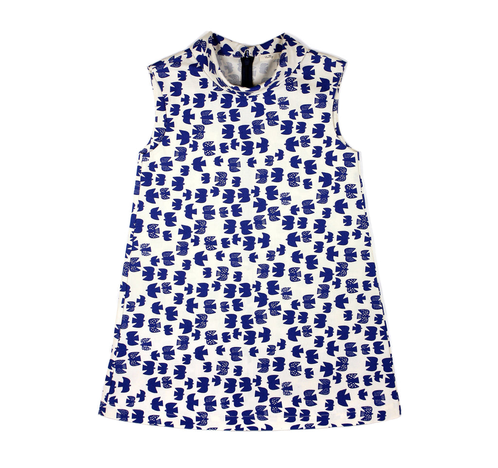 Flip Collar Dress with Navy Birds