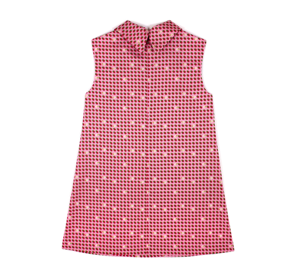 Flip Collar Dress in Pink Strawberries