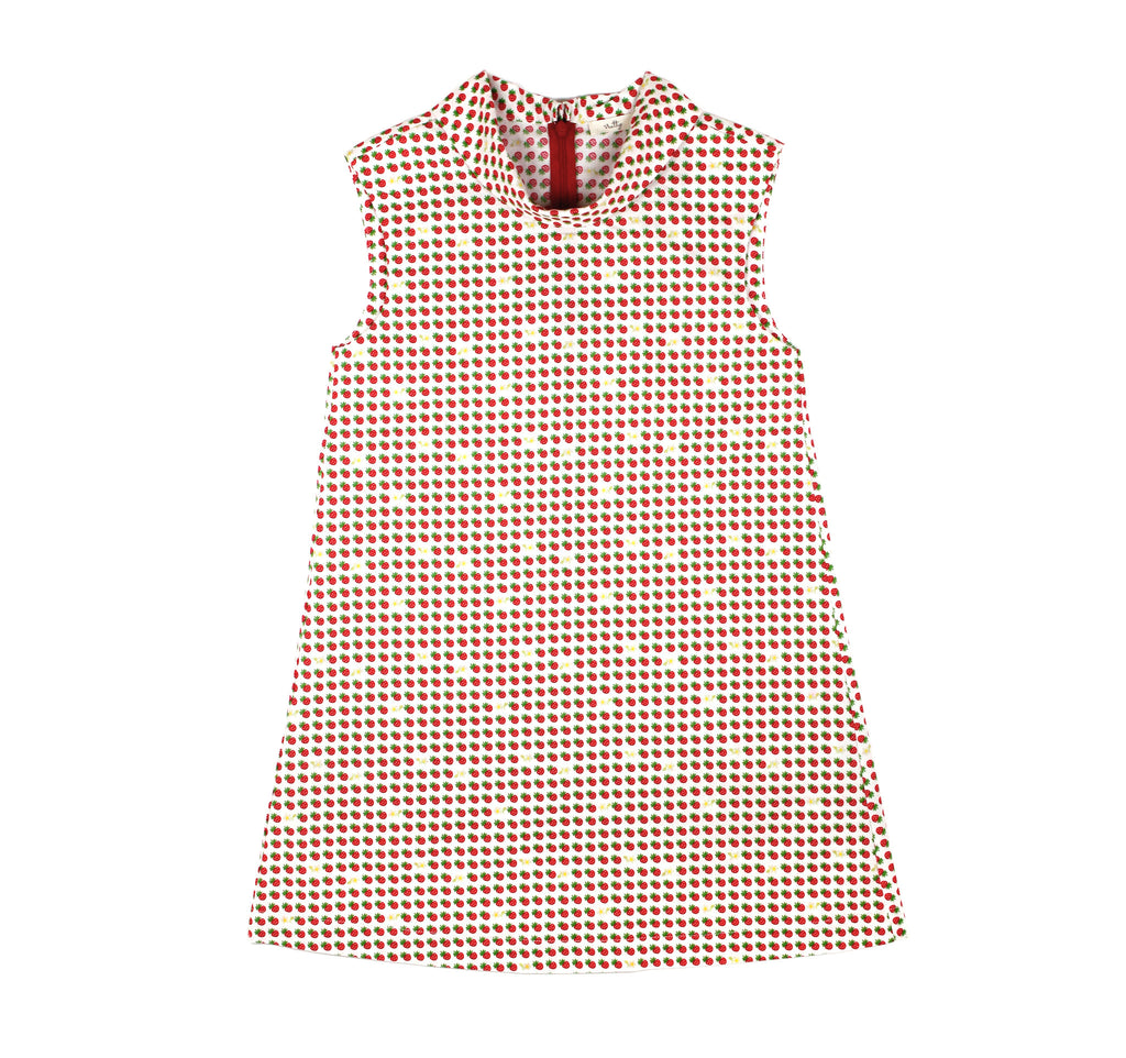 Flip Collar Dress in Cream Strawberries