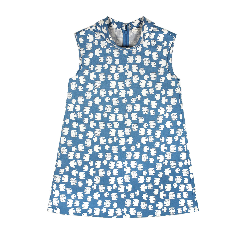 Flip Collar Dress in Cornflower Blue
